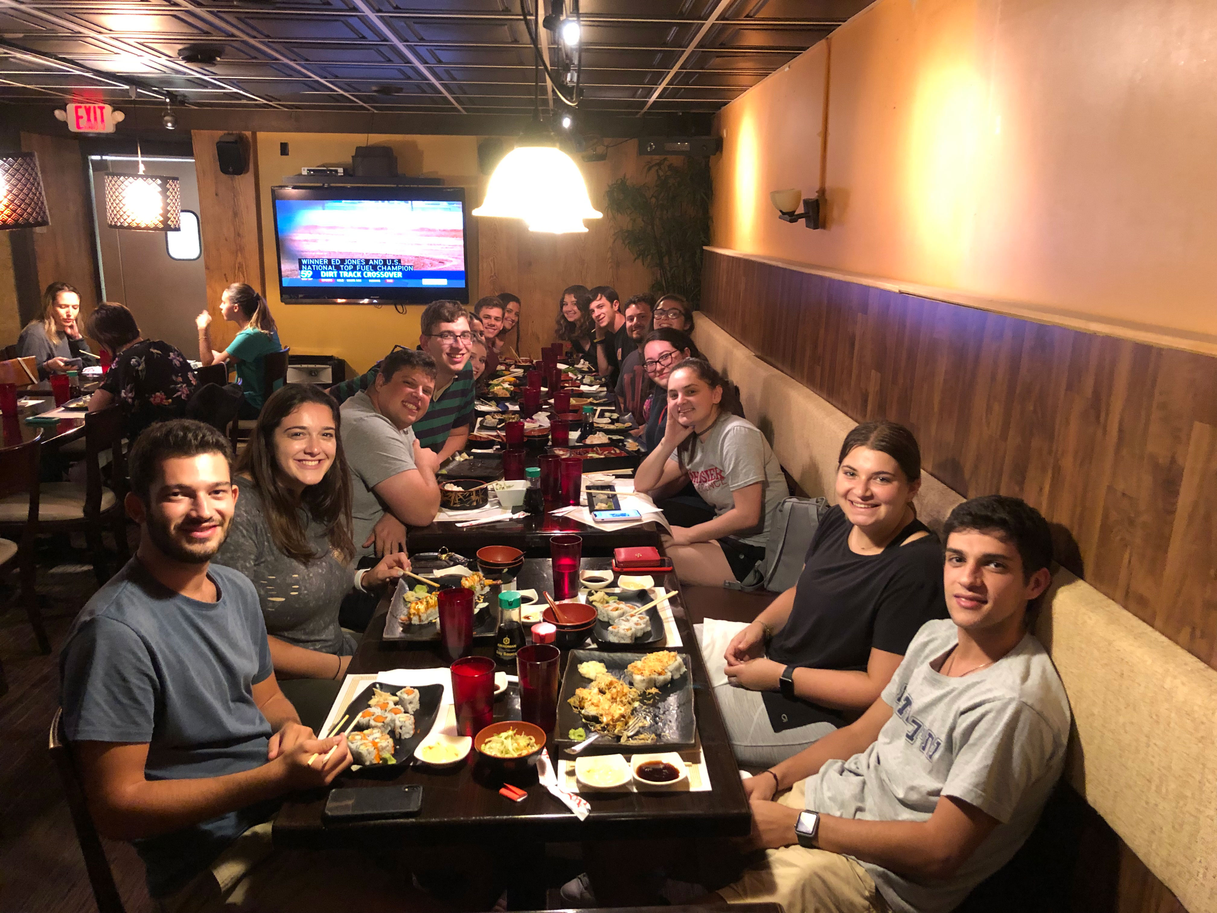 Students at the fall 2019 JSSA Sushi Dinner